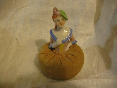 vintage Japan porcelain half doll PIN CUSHION