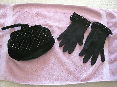 Women's Black Velvet Sequined Purse With Matching Sequined Gloves