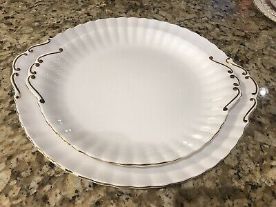 Royal Albert Val D'or Large And Small Cake Plates Excellent Condition
