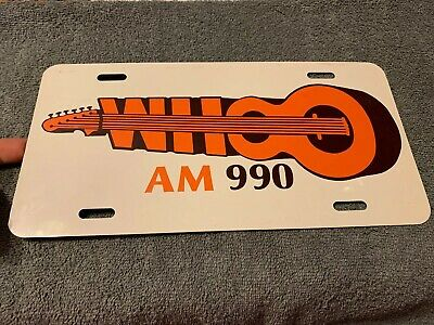 Vintage 1980's WHOO Country Metal License Plate Radio Station Orlando AM990