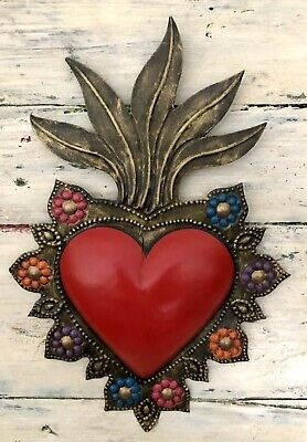 Punched Tin Heart with Flames, Sacred Heart With Floral Border