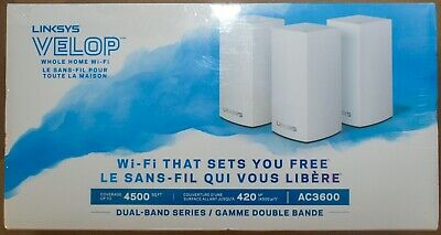 **NEW + FREE SHIPPING** Linksys VELOP AC3600 Dual-Band MESH WiFi System 3-Pack