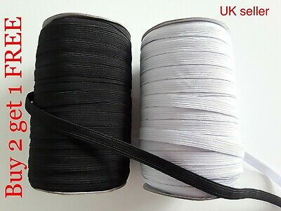 3mm 4mm - 10mm wide 1mm thick Flat Elastic Cord Sewing Trimming Mask black white