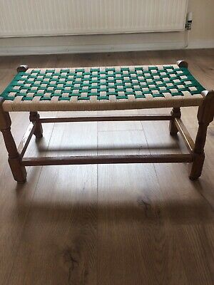 Wooden Stool Foot Stool Woven Top.