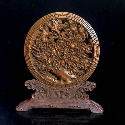 Collectable Old Boxwood Hand-Carved Flower Bird Delicate Auspicious Noble Screen