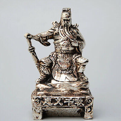 Collect Chinese Old Miao Silver Hand-Carved Duke Guan Auspicious Exorcism Statue