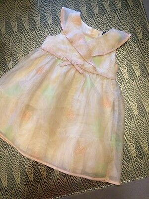 Baby GAP Girls Chiffon Dress Age 2 Years -Nude Pink Peach - Floral Print - VGC