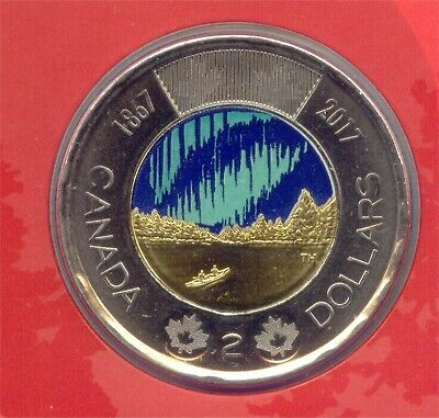 Canada 1867 - 2017 Toonie Two Dollar Canadian $2 UNC Colour Glow in Dark BU Coin