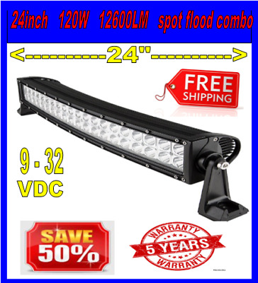22inch 120w CURVED LED Light Bar Work Flood Spot Offroad Truck ATV SUV 4WD 24""