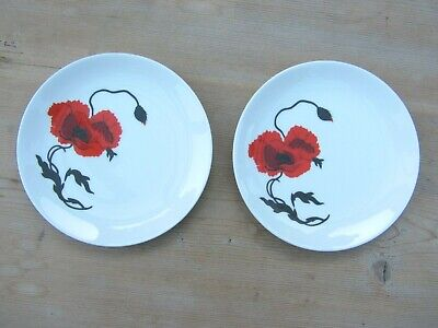 "2 x WEDGEWOOD, SUSIE COOPER DESIGN, CORN POPPY TEA/SIDE PLATES - Dia. 6 1/2"" app"