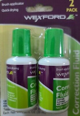 Wexford Correction Fluid Liquid Dries Quickly New Brush Applicator.12packs of 2.