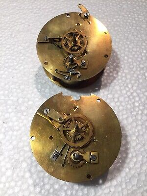 Wonderful Vintage Solid Brass Movements Of Old Clocks For Parts Or Restoration