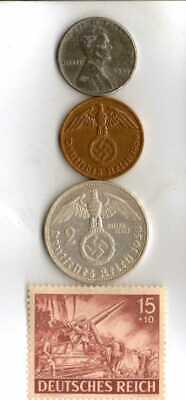 #-9-)-*rare WWII-*German Stamp+ *US and  *German SILVER-copper-STEEL coins
