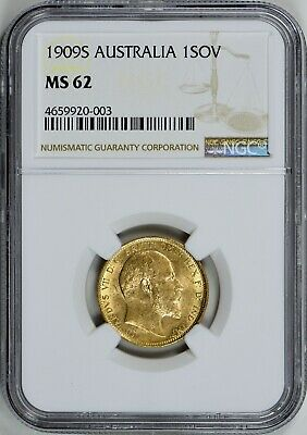 Australia 1909-S Gold Sovereign KM-15 NGC MS-62 (AGW = 0.2355 oz.)