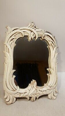Vintage Syroco Wood Table Mirror Art Deco Ornate Hollywood Regency USA Ivory