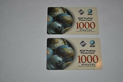 2 AT&T Prepaid Phone Card with 1,238 Minutes Total (VERIFIED)
