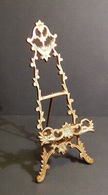 "Victorian Style Ornate 11"" Brass Table Top Easel Picture Plate Display Stand"