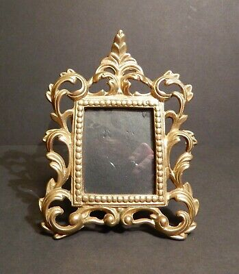 Solid Brass Victorian Style Ornate Photo Frame Easel