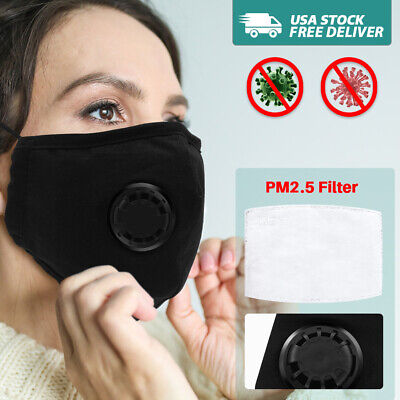 USA Air Purifying Face Mask Carbon Filter Vented Mask Respirator Black Washable