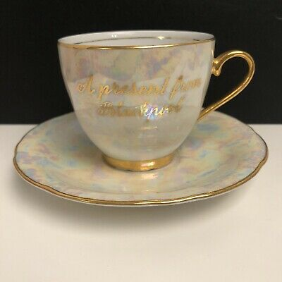 Vintage Czech Opalescent/Pearlescent Gold Trim Teacup & Saucer From Blackpool
