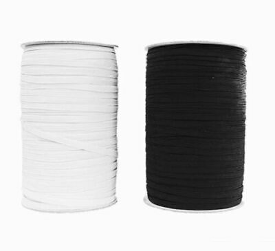 "6""mm ELASTIC - Premium Grade Black Or White - 8 Cord Flat Corded 1/4 Inch Width"