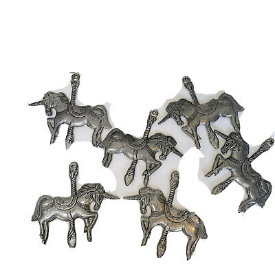 "Unicorn Pewter Metal Carousel Fantasy Christmas Ornament 3.5"" Tall Lot of 6"