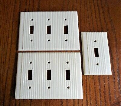 Vintage Ivory Leviton Ribbed Bakelite 3-Gang Triple Toggle Switch  Plate Covers