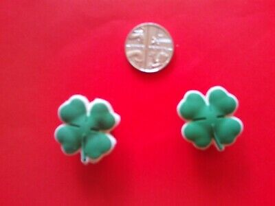 2 Lucky Four Leaf Clover jibbitz crocs shoe charms cake toppers