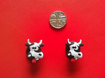 2 Fun Crazy Mad Cows jibbitz croc shoe charms loom wrist hair bands cake toppers