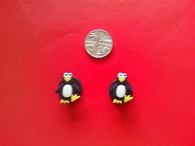2 Cute Penguins jibbitz crocs shoe charms loom wrist hair bands cake toppers