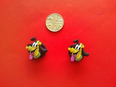 2 Disney Pluto jibbitz crocs shoe charms loom wrist hair bands cake toppers