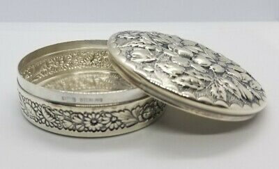 Gorham Repousse Style Trinket Box Monogrammed, Sterling Silver