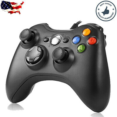 Black Wired USB Game Controller Joystick for Microsoft Xbox 360 / PC Windows Sys