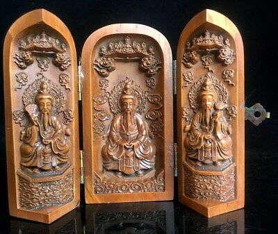 Collectable Old Boxwood Hand-Carved Delicate Noble Buddhist Shrine Stands Statue