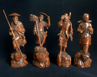 Collection Old Boxwood Hand-Carved Fishermen Woodcutter Cultivator Reader Statue