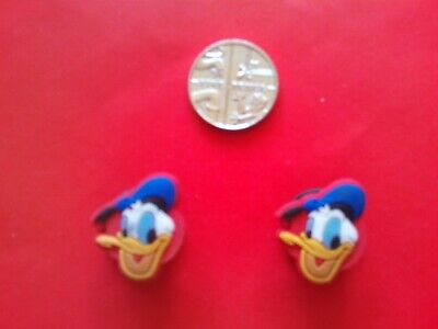 2 Disney Donald Duck jibbitz crocs shoe charms loom wrist hair band cake toppers