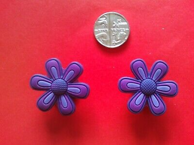 2 Purple Flowers jibbitz crocs shoe charms loom wrist hair bands cake toppers