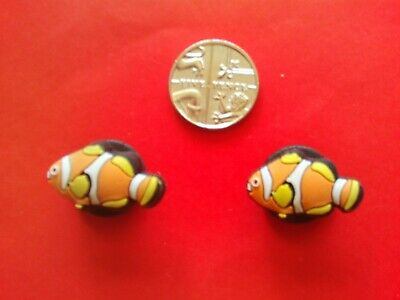 2 Finding Nemo Clown Fish jibbitz croc shoe charms loom wrist bands cake toppers