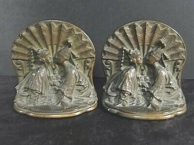 Vintage Solid Brass BOOKENDS Chinese Couple Great Patina