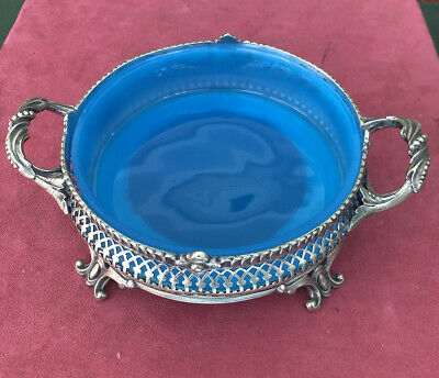 French Silverplate With Blue Opaline Glass Nuts Dish