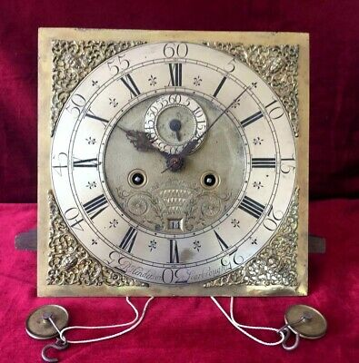 Antique 18th Century Henderson Brass Grandfather Clock Movement/Dial.