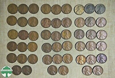 1941 to 1958 P, D, & S LINCOLN WHEAT CENT SET ROLLED
