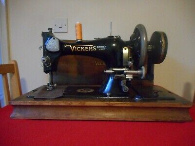 Vintage Vickers Hand Crank Sewing Machine With Case.
