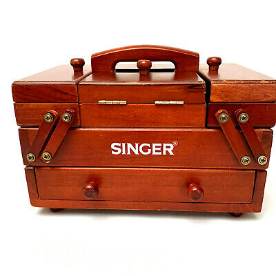 VIintage Singer Wooden Foldout Accordian Sewing Box