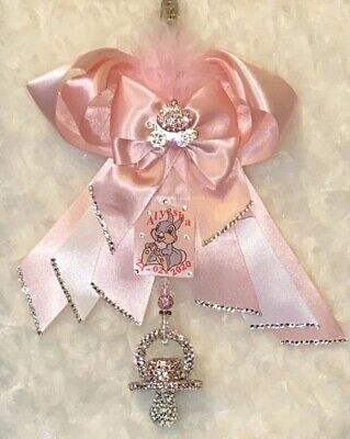 🌟 PERSONALISED 🌟Romany Crystal Bling Dummy Soother Pram Charm Clip Baby Shower