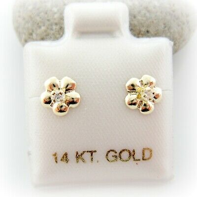 14K Solid Yellow Gold CZ Flower Screwback Baby Girl Children Gold Earrings