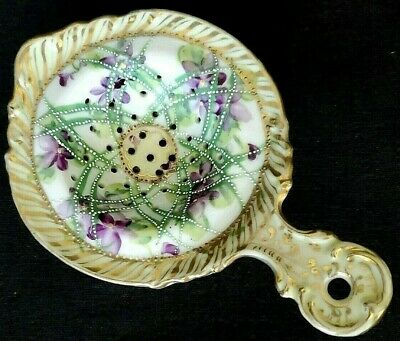 Nippon Porcelain Tea Bag Holder Drip Tray Strainer  Lots of Gold Trim Violets