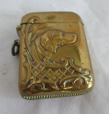 Great Antique Brass Match Safe Holder With Hunting Dog