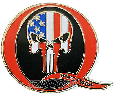 "QAnon WWG1WGA Hard Enamel Lapel Pin (1"" wide) with Patriot Punisher Skull"