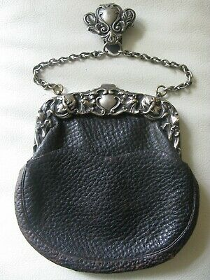 Antique Art Nouveau 2 Woman Floral Chatelaine Suede Leather Kilt Purse 1901